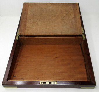 Antique Antique Georgian Mahogany Victorian Brass Bound Traveling Writing Slope Box 19Ct