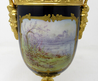 Antique Antique French Sèvres Porcelain Ormolu Gilt Bronze Urn Vase Potpourri Cobalt
