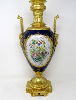 Antique Antique French Sèvres Gilt Bronze Porcelain Vase Ormolu Cobalt Blue Table Lamp
