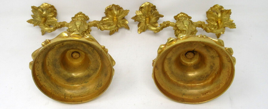 Antique Antique Pair French Ormolu Gilt Bronze Dore Twin Arm Candelabra Candlesticks 19C