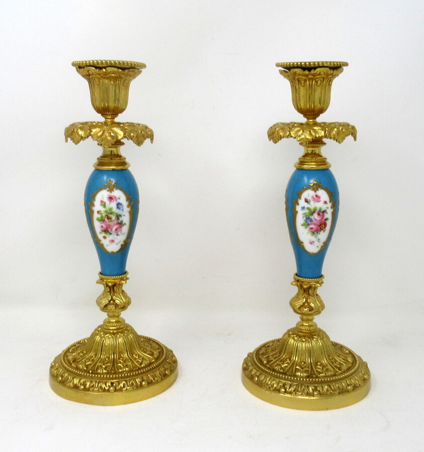 Antique Antique Pair French Ormolu Sevres Porcelain Gilt Bronze Candlesticks Candelabra