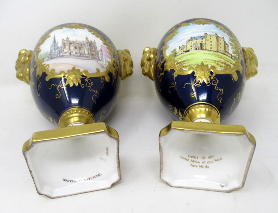 Antique Fine Pair Coalport Urns Hand Painted Signed Norman Lear Malcolm Harnett 20thCt