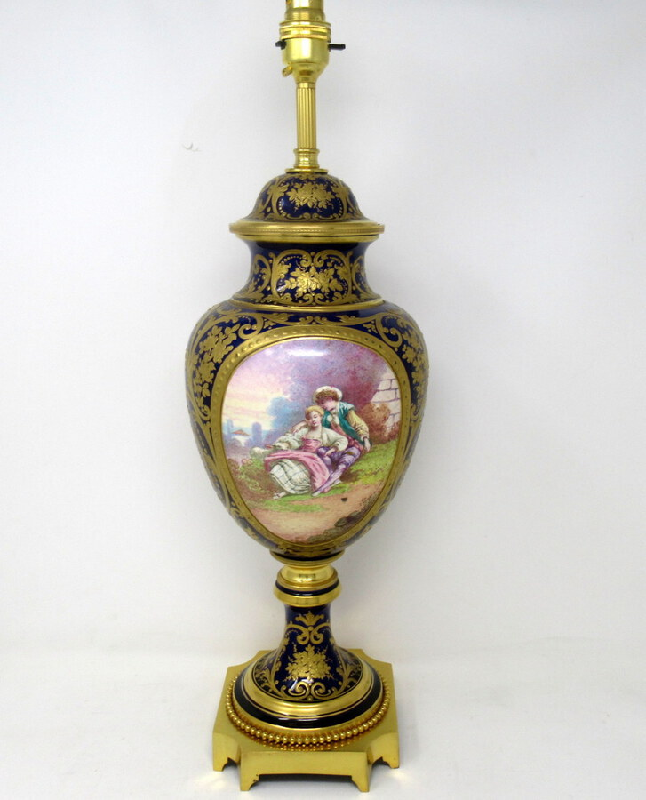 French Sèvres Porcelain Watteau Scene Ormolu Cobalt Blue Table Lamp 19th Century