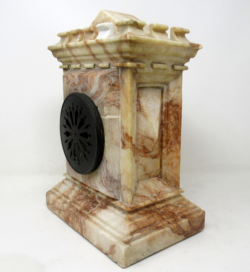 Antique  Antique French Carved Marble Architectural Castle Form Mantle Clock Timepiece