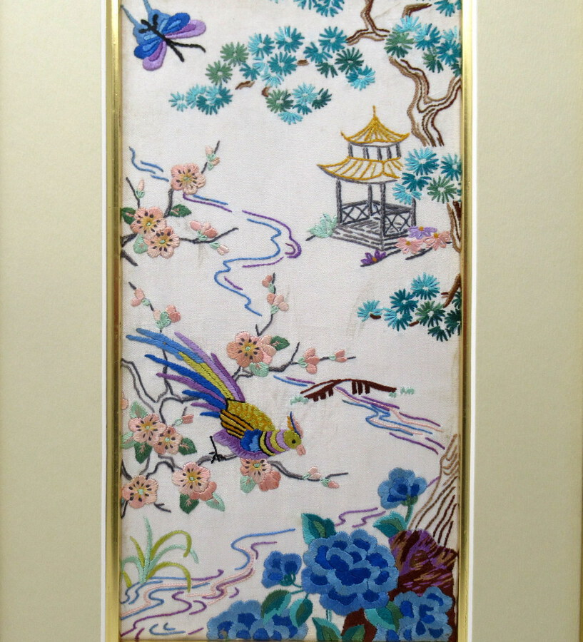 Antique Antique Pair of Chinese Hand Embroidered Silk Pictures Panels Irish Interest