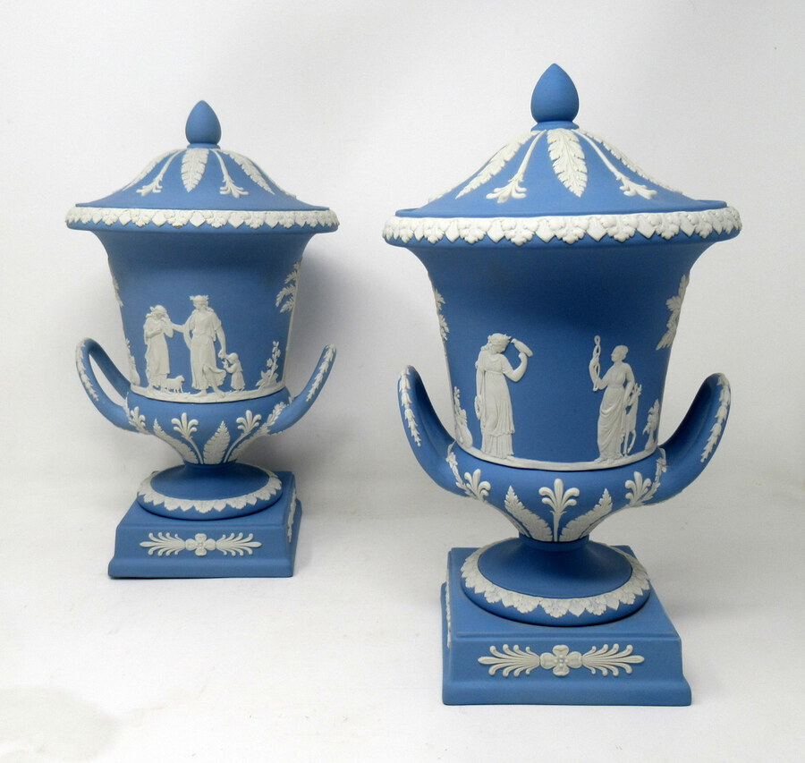 Antique Pair of Blue Wedgwood Jasperware Ceramic Urns Vases Mythological Classical Scenes