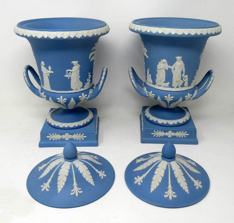 Antique Antique Pair of Blue Wedgwood Jasperware Ceramic Urns Vases Mythological Classical Scenes