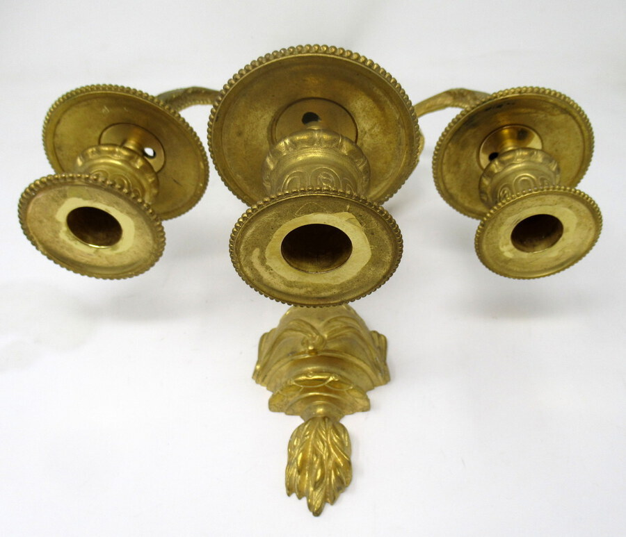 Antique Antique Pair of French Gilt Bronze Three Light Wall Candle Sconces 19th Century