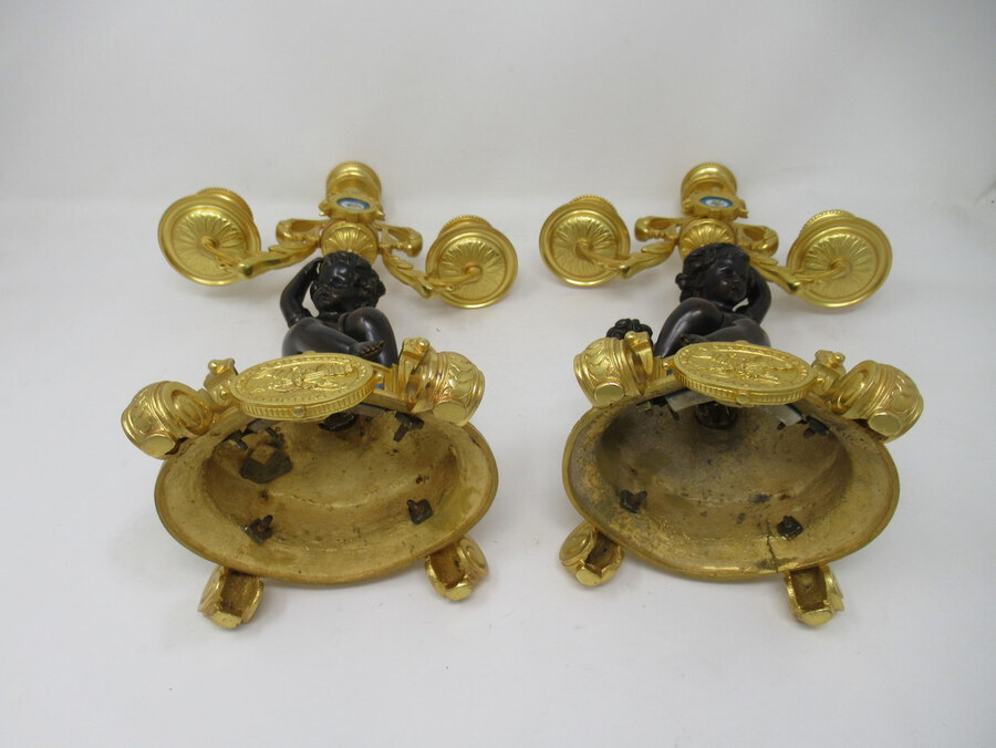 Antique ntique Pair French Sevres Porcelain Gilt Bronze Cherub Candelabra Candlesticks