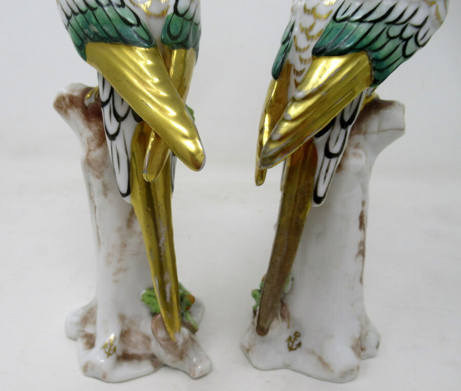 Antique Antique Pair Meissen Style Continental Parrots Birds Green Gilt 19th Century