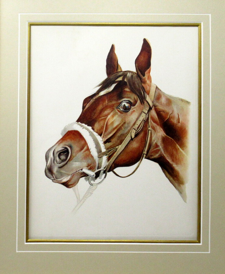 Antique Antique Equine Racehorse Painting Print DJEBEL French Thoroughbred Horse Racing