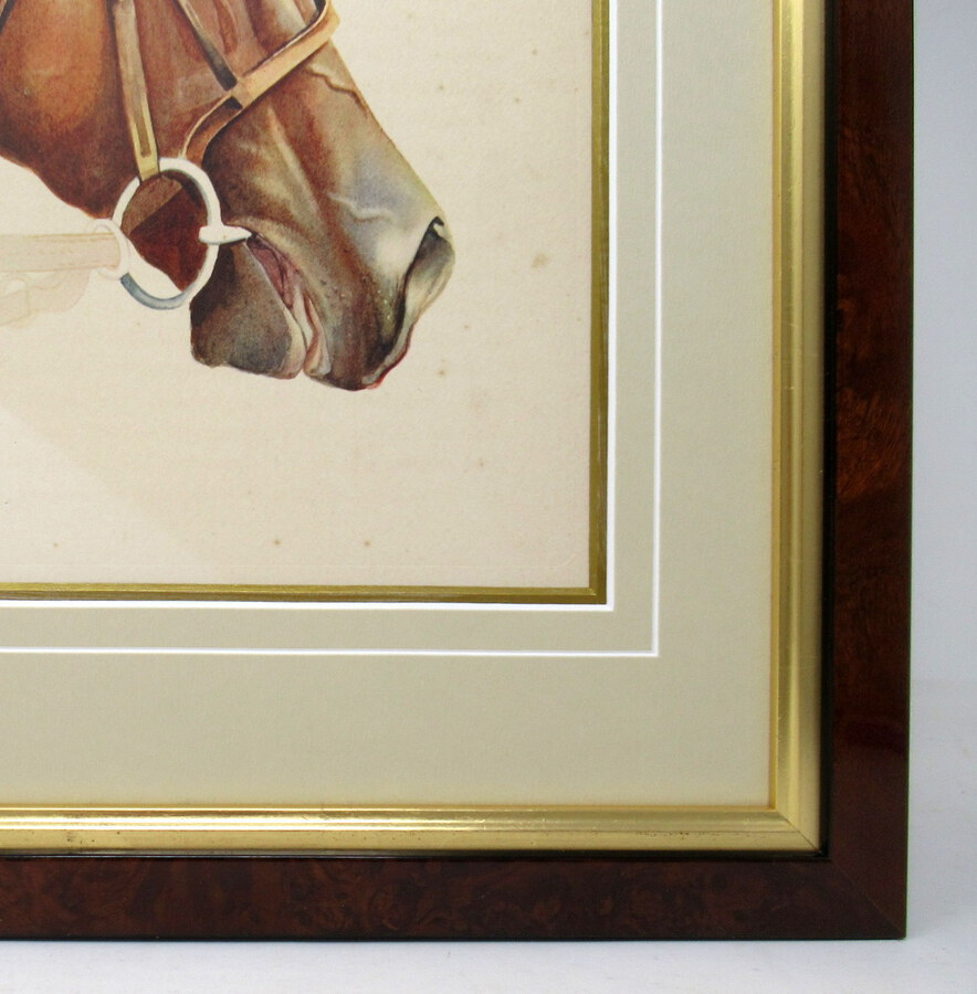 Antique Antique Equine Racehorse Painting SIR GALLAHAD French Thoroughbred Horse Racing