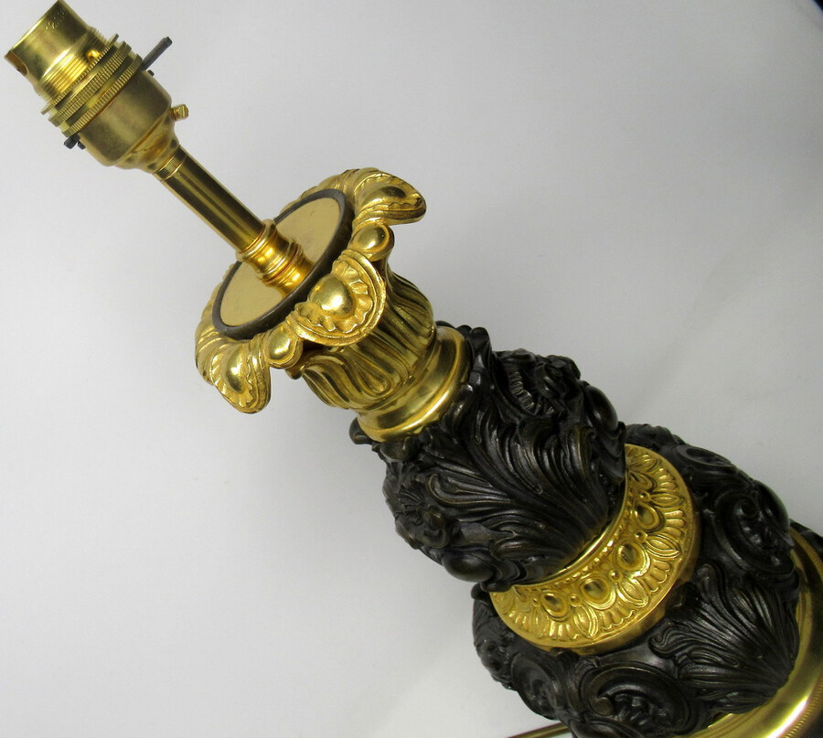 Antique Fine French Patinated Bronze and Ormolu Table Lamp Mid 19th Century