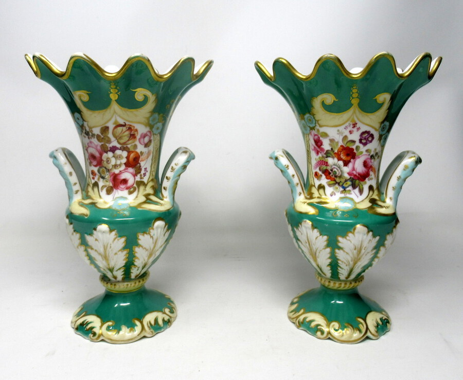 Antique Pair English Porcelain Samuel Alcock Green Vases Still Life Flowers 19th Century