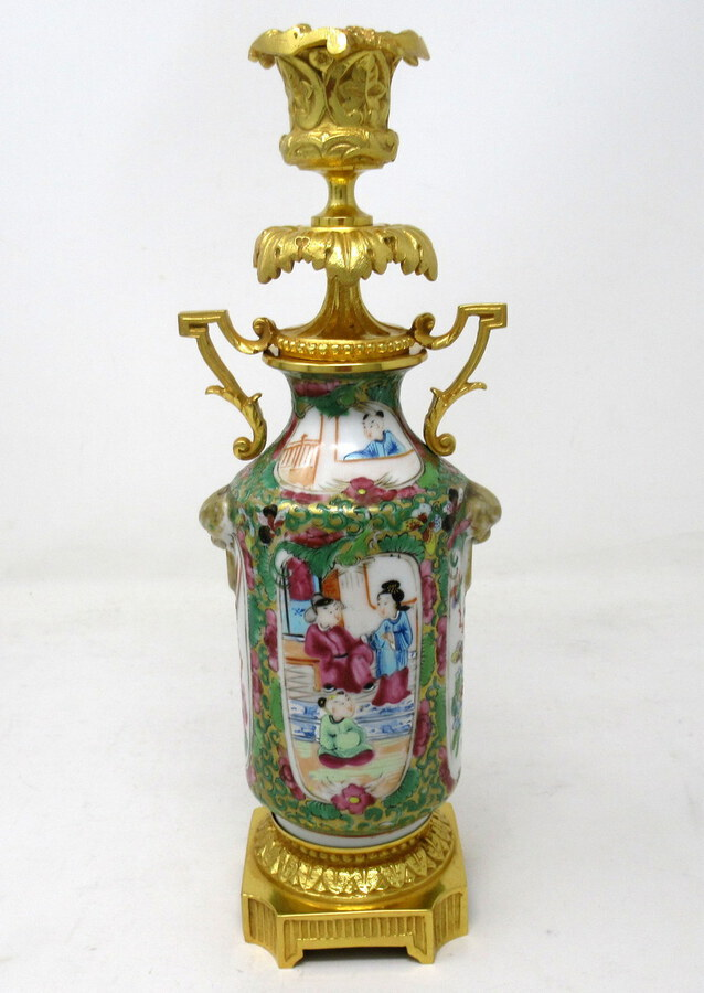 Antique  Pair Hand Painted Cantonese Famille Rose Chinese Porcelain Ormolu Candlesticks