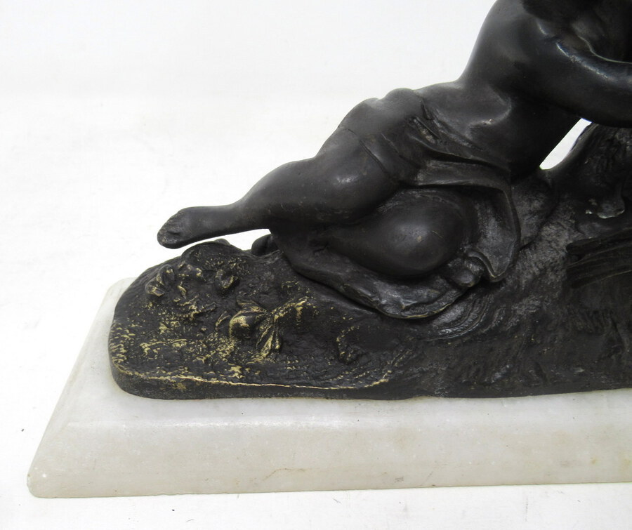 Antique Antique Pair French Grand Tour Bronze Marble Cherubs Figures Putti Bookends