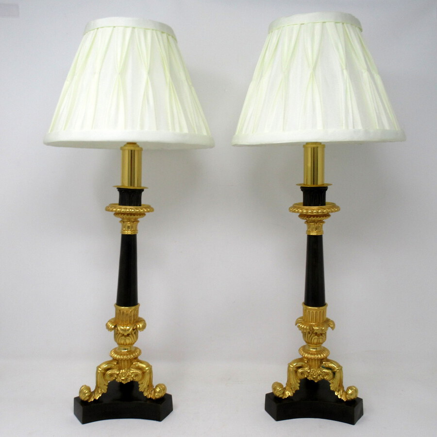 Antique Antique Pair of French Doré Bronze Neoclassical Ormolu Gilt Candlestick Lamps