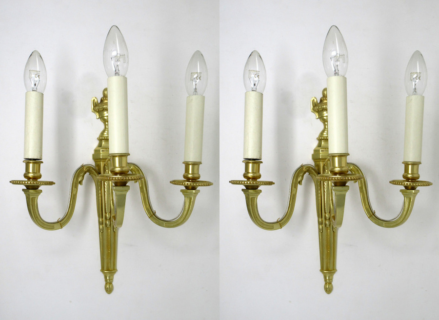 Antique Antique Pair of English Gilt Bronze Three Light Wall Candle Sconces 19th Century