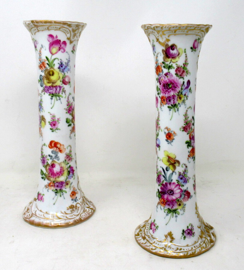 Antique Antique Pair Hand Decorated Meissen Dresden Vases Urns Still Life Flowers Gilt