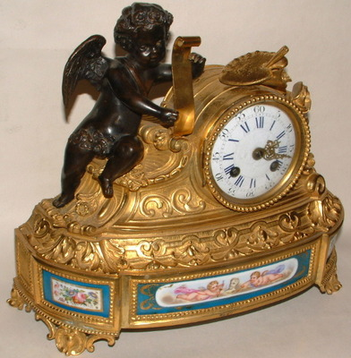 338. French Ormolu & Sevres Mantle Clock 19th Century