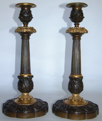 555. Stunning Pair French Ormolu & Bronze Candlesticks 19th Ct