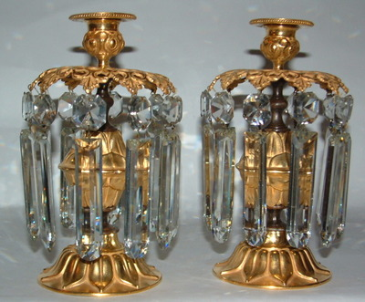 606. Fine Pair French Ormolu & Bronze Lustres 19th Ct