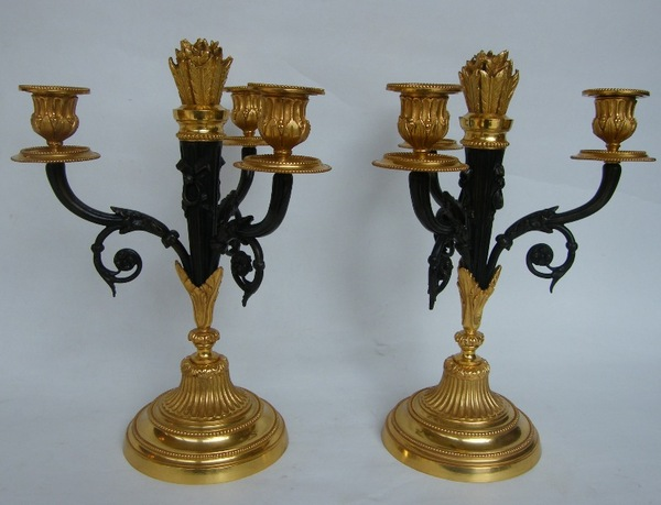 805. Stunning Pair French Ormolu and Bronze Candelabra 19th Ct