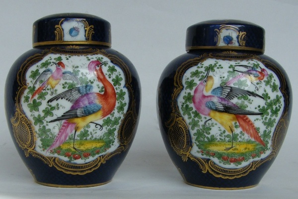 808. Pair French Hand Decorated Ginger Jars Samson Paris Late 19th Ct