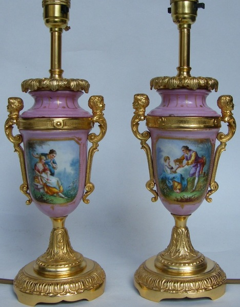 952. Superb Pair French Porcelain and Ormolu Table Lamps Mid 19th Ct