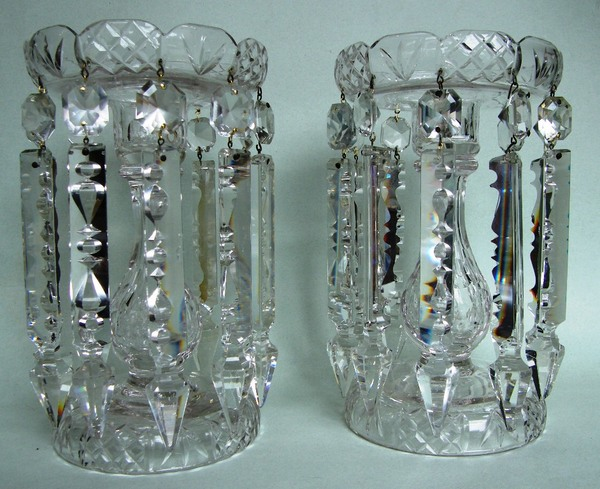 578. Exceptional Pair English Crystal Lustres Mid Victorian