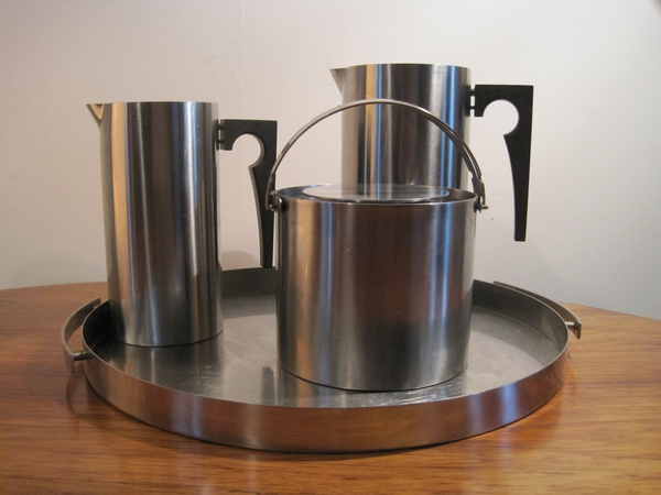 Antique Stelton Steel,Cylinda Line Bar set, Arne Jaconsen ,circa 1968