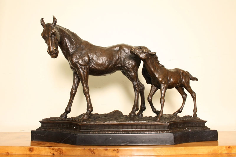 Beautiful Bronze Horse and Foal Sculpture Marble Base