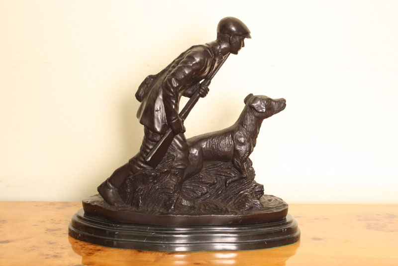Beautiful Hunter & Dog Bronze Sculpture Mene