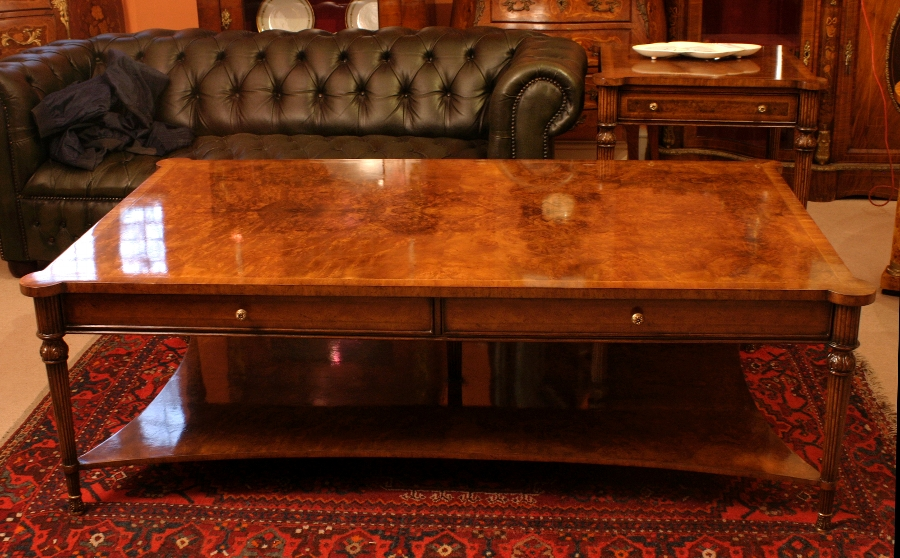 Stunning Burr Walnut Coffee Table With Two Drawers