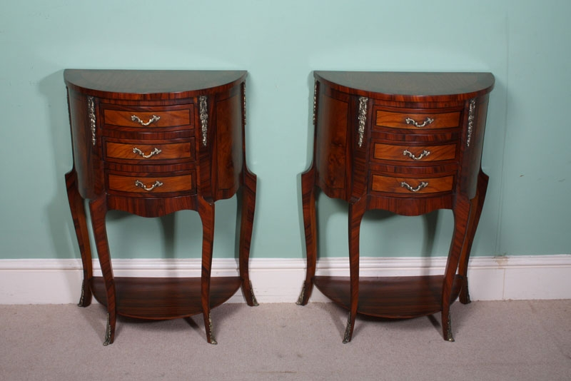 Pair Half Moon Rosewood & Walnut Side Bedside Cabinets