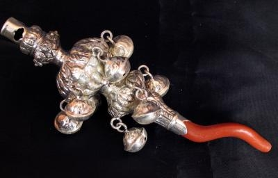 Stunning Victorian Style Sterling Silver Baby Rattle