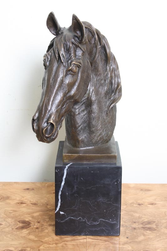 Beautiful Bronze Horse Stallion Head Sculpture Milo