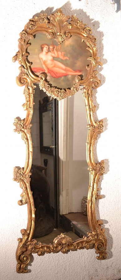 Magnificent Large Italian Gilded Mirror Angel Cherub