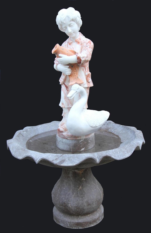 Charming Pink Marble Garden Fountain Statue Child Fish