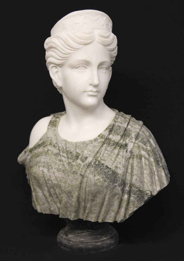 Beautiful Two Colour Solid Marble Bust Classical Lady