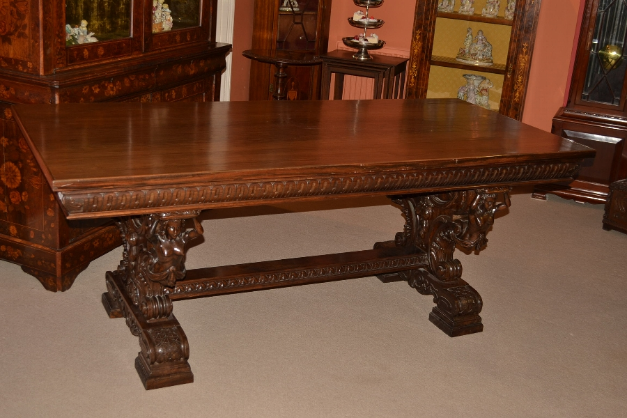 Antique rosewood refectory dining / writing table C1900