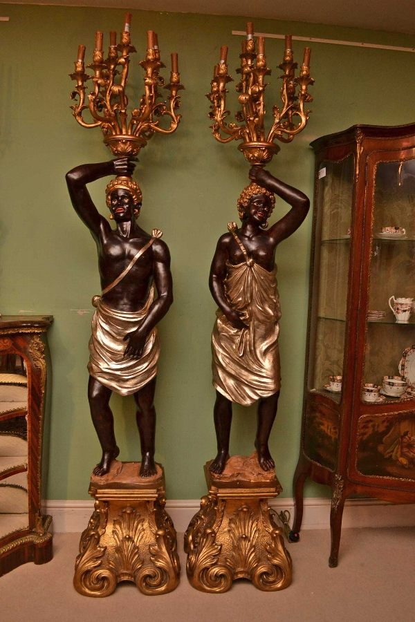 Pair Blackamoor Wired Candelabras Hand Painted Gilded