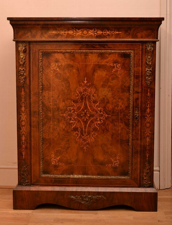 Antique Inlaid Burr Walnut Pier Cabinet C1870