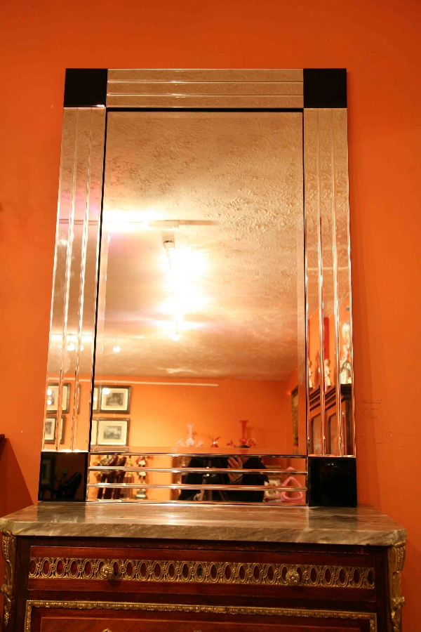 Stunning and Chic Art Deco Silver and Ebony Mirror