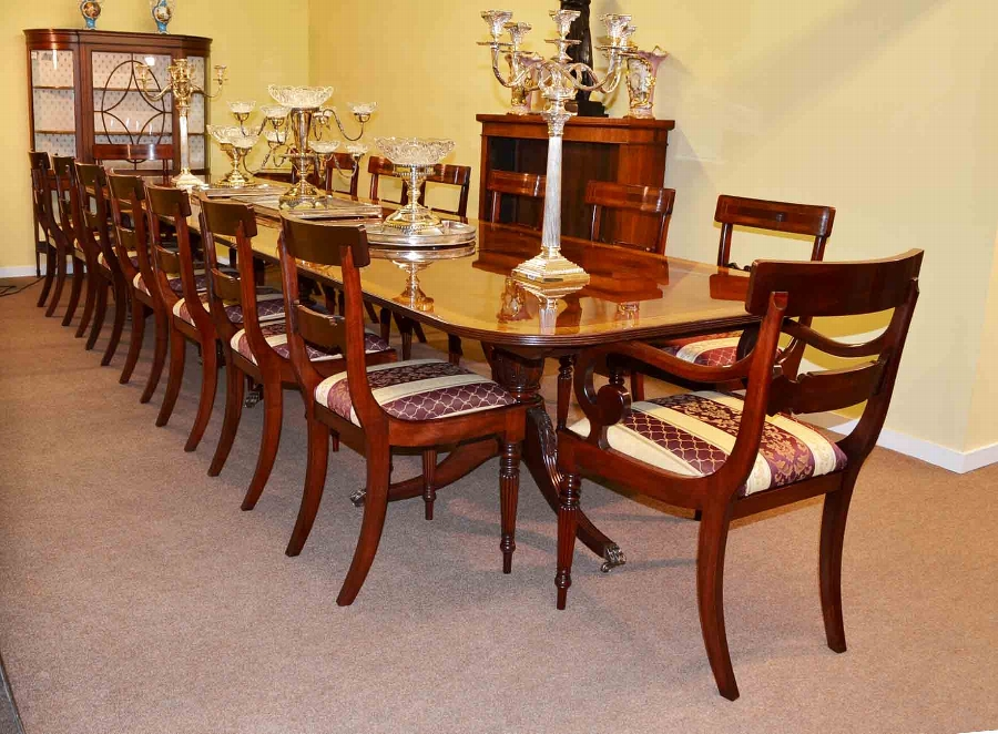 16ft Regency Dining Table & 16 Chairs Flame Mahogany