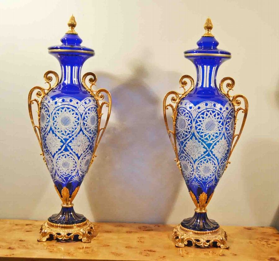 Stunning Pair Huge Blue Cut Glass Vases Ormolu Mounts