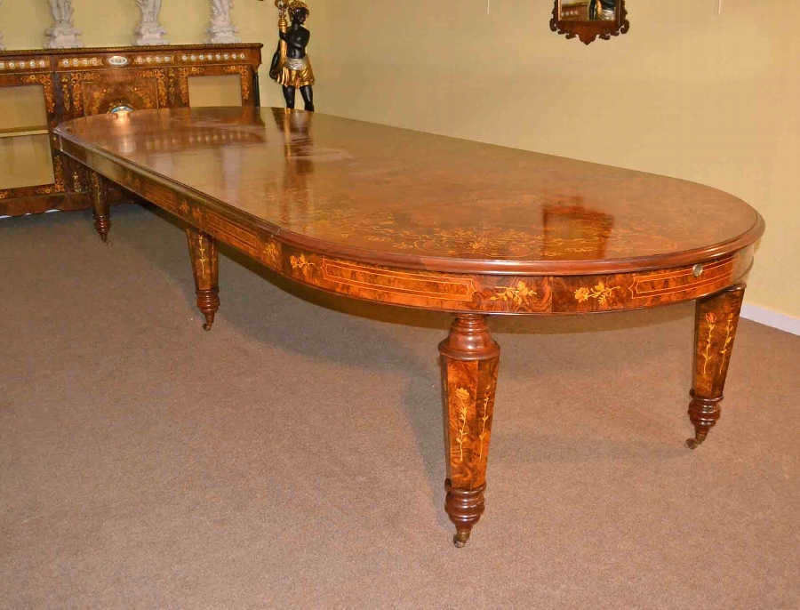 Victorian Dining Table Marquetry Extendable Walnut