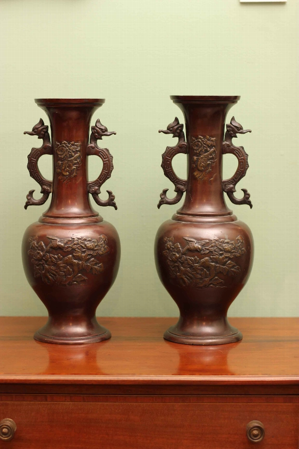 Antique Pair Bronze Chinese Vases 19th c