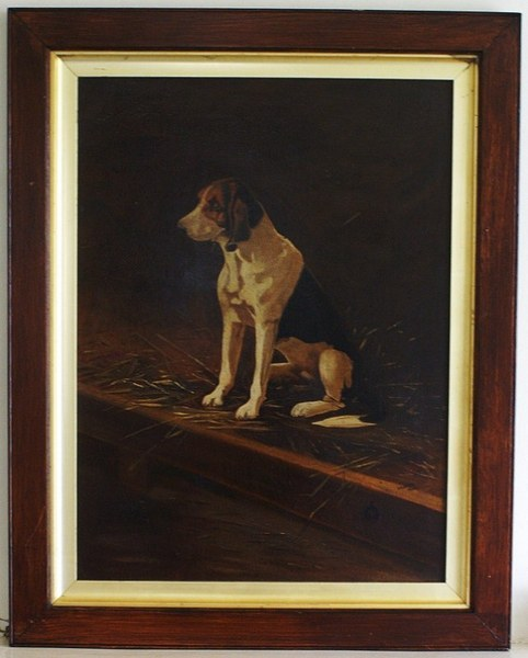 Antique A very attractivea and atmospheric originial, signed and dated, oil painting of a hound.
