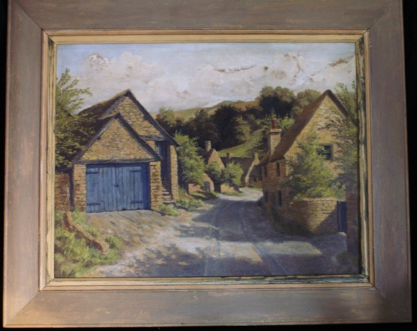 Antique A subtley handled oil painting on canvas of a Cotswold scene